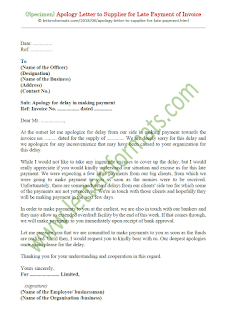 sample apology letter to supplier for late payment