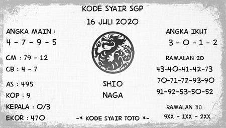Kode Syair SGP Singapura Kamis 16 Juli 2020