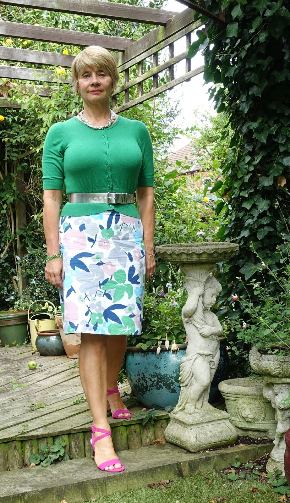 Boden floral skirt and cropped cardigan