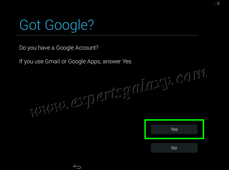 Android Google Account Configuration