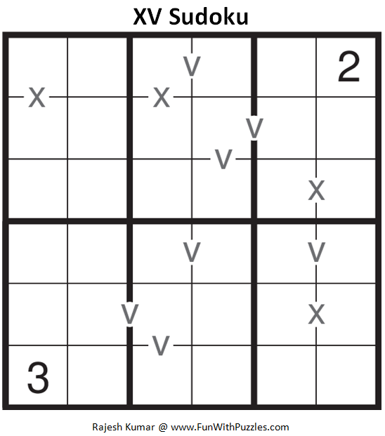 6x6 XV Sudoku (Mini Sudoku Series #60)