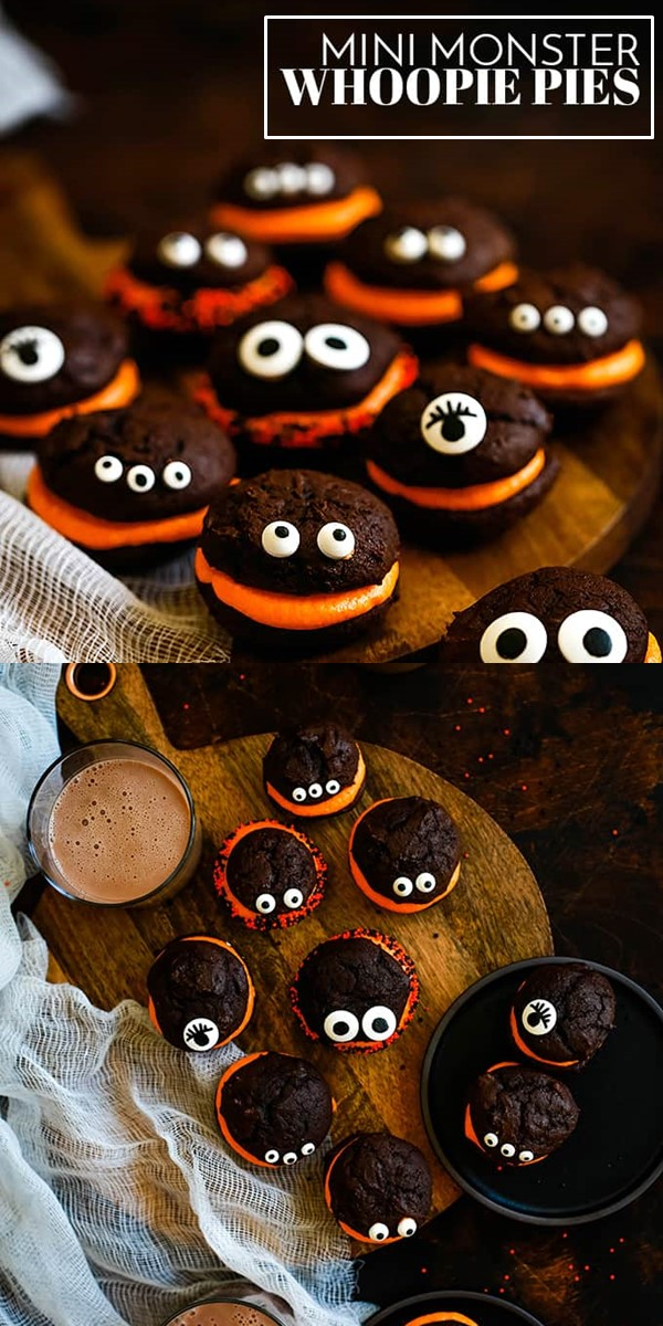 Mini Monster Chocolate Whoopie Pies with Orange Cream Filling #halloweenrecipes