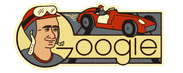Juan Manuel Fangio's 105th birthday - Google Doodle