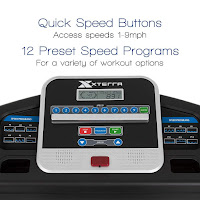 """XTERRA Fitness TR150 Treadmill's console, image, with  5"""" LCD screen, 12 preset programs, quick speed access buttons, media shelf, 2x accessory holders"""