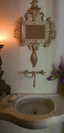 Stone Sink, Antique Mirror and Accessories via Chateau Domingue as seen on linenandlavender.net