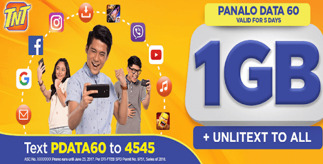 TNT PDATA60 Panalo Data 60 : 1GB Data + Unli All Net Texts for 5 Days