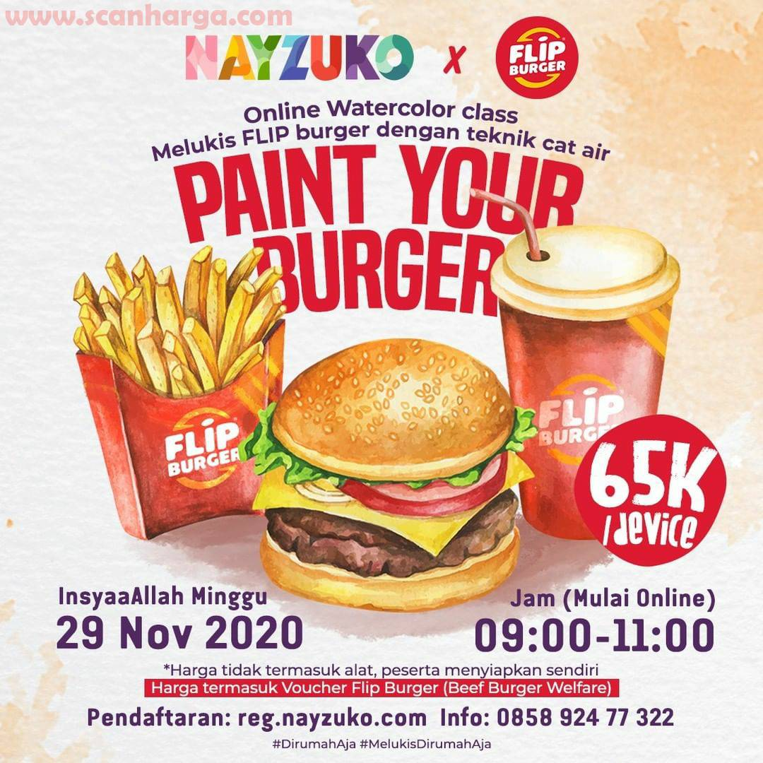 Nayzuko X Flip Burger Present: Paint Your Burger [Online WaterColor Class Melukis Dengan Teknik Cat Air]