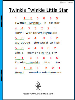 Not Angka Lagu Twinkle Twinkle Little Star