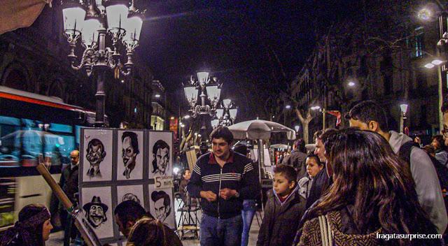 Artistas nas Ramblas de Barcelona