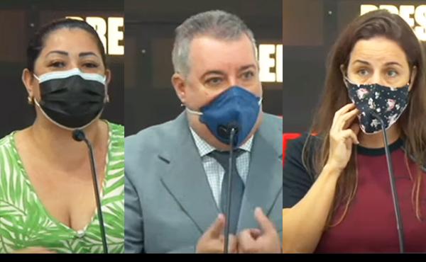 A sindicalista Priscila Guedes, o vereador Sidnei Telles e a jornalista Vanessa Bellei na sessão de terça (23) – Imagens: Reprodução/TV Câmara