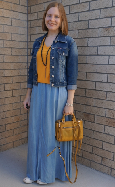 double denim mum style park playdate converse chambray maxi skirt mustard tee | awayfromblue