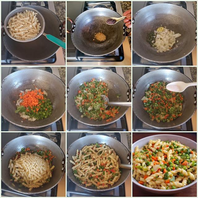 images of Pasta Upma / Vegetables Pasta / Pasta Vegetable Upma / Mixed Vegetable Paste Upma / Paste Upuma / Kids Lunch Box Recipes