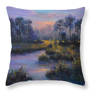 Home DecorThrow pillow of sunset marsh contemporary