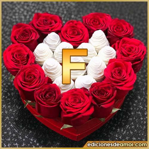 corazón de rosas rojas F