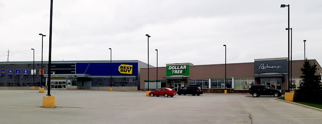 The Westridge Plaza in Orillia with Best Buy replacing Future Shop, and Dollar Tree replacing Dollar Giant.