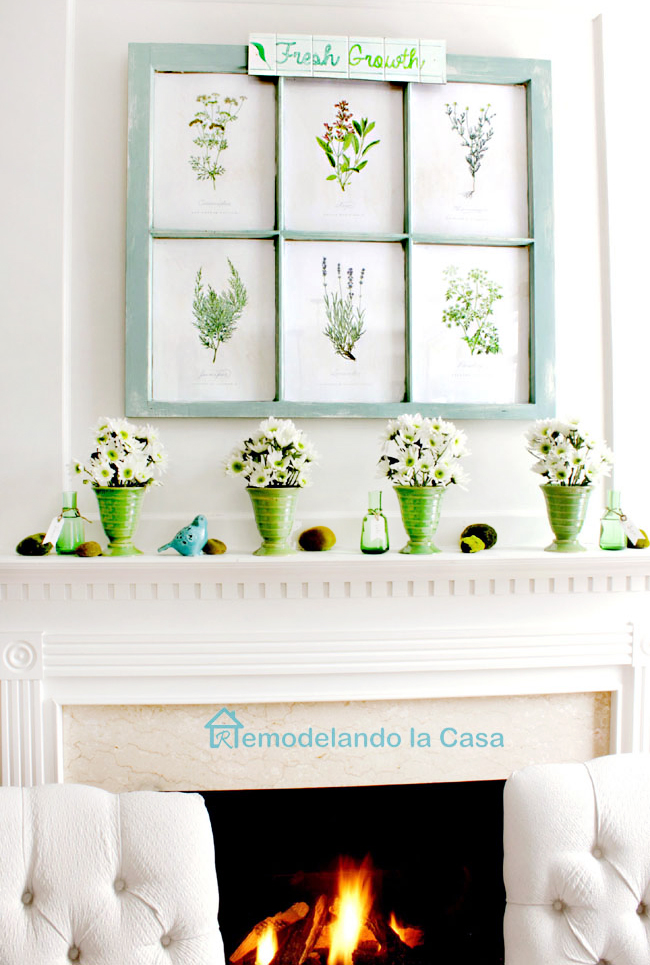 white, green and aqua mantel