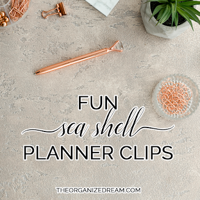 Sea shell planner clips with customizable initial. #plannergirl #accessories #etsy