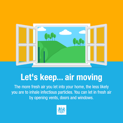 UK Gov lets keep air moving open a window. Text and simple window image