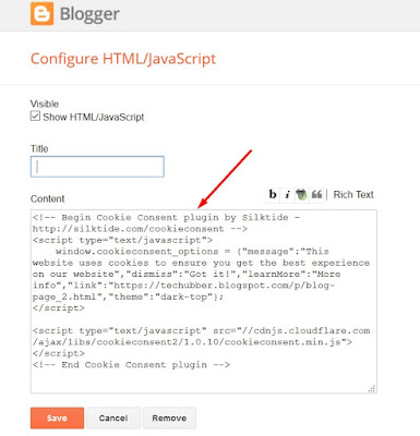 cookie consent code generator blogger