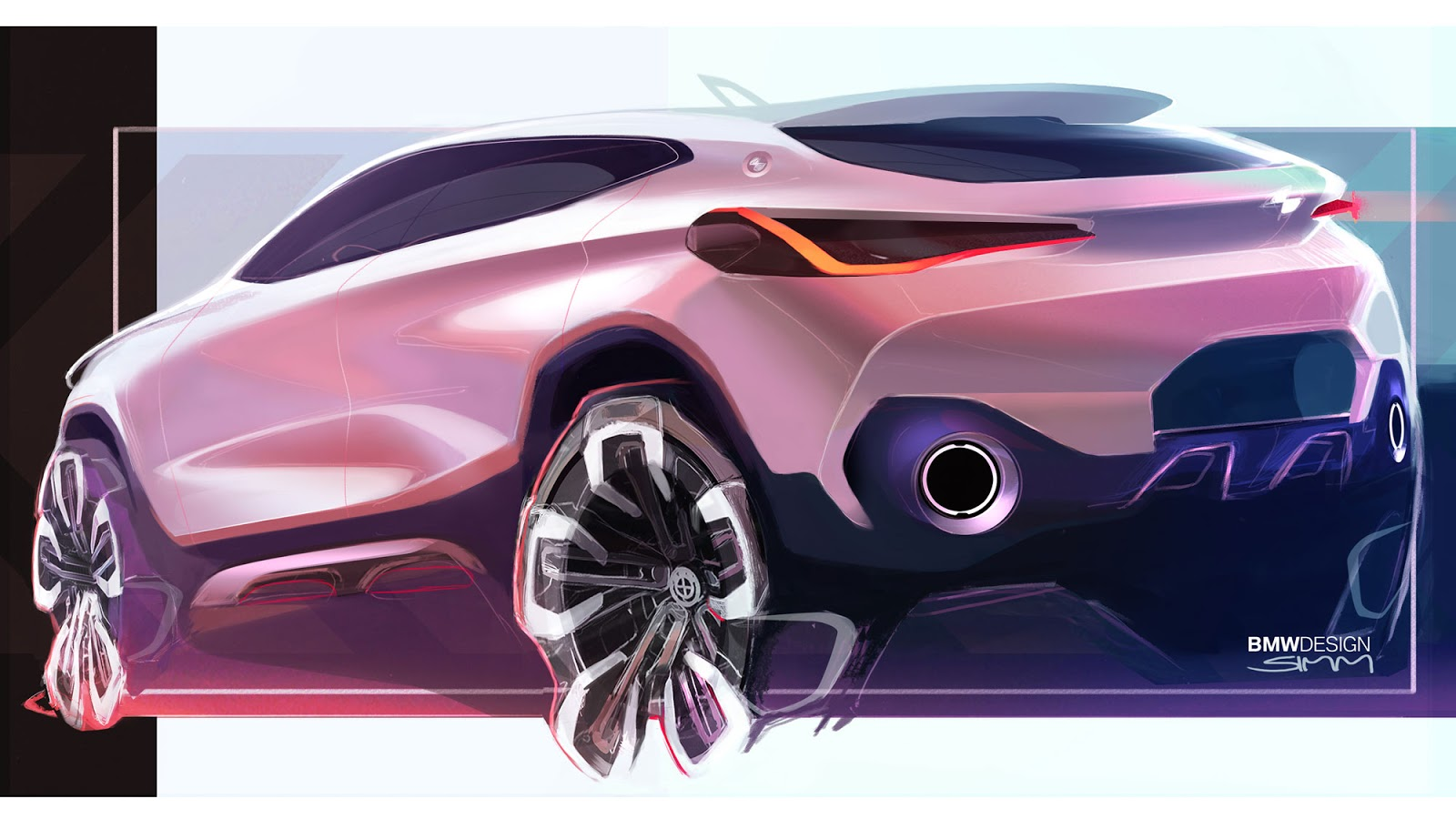 BMW X2 sketch by Sebastian Simm - rear quarter view in pink