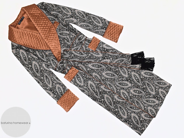 Men's paisley robe victorian dressing gown quilted silk smoking jacket gentleman's robes