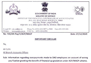 Wrong pay fixation to DAD Employees financial up gradation under MACP scheme