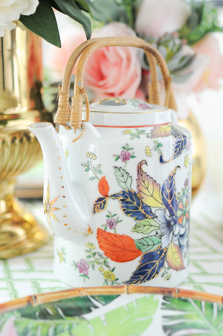 Vintage tobacco leaf porcelain teapot- a timeless chinoiserie piece. A guide on where to buy it online and the different types of patterns offered.