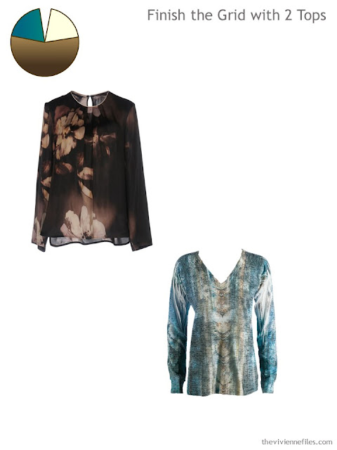 2 printed tops in teal and brown to finish a 4 by 4 Wardrobe