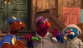 Coach Pogolyi doesn't think Telly has what it takes. Baby Bear does not think he is a nice man. Sesame Street Episode 4421, The Pogo Games, Season 44.