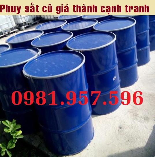 Phuy sắt đã qua sử dụng, phuy thép 200L, phuy thép cũ tại Hà Nội