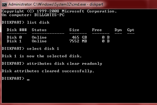 CMD attributes disk clear readonly