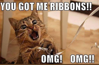 Picture: An excited looking cat playing with a ribbon. Caption: You got me ribbons! OMG! OMG!