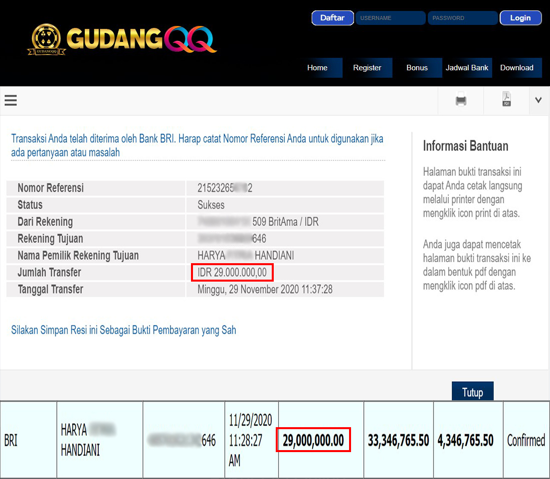 Selamat Kepada Member Setia GudangQQ WD sebesar Rp. 29,000,000,-