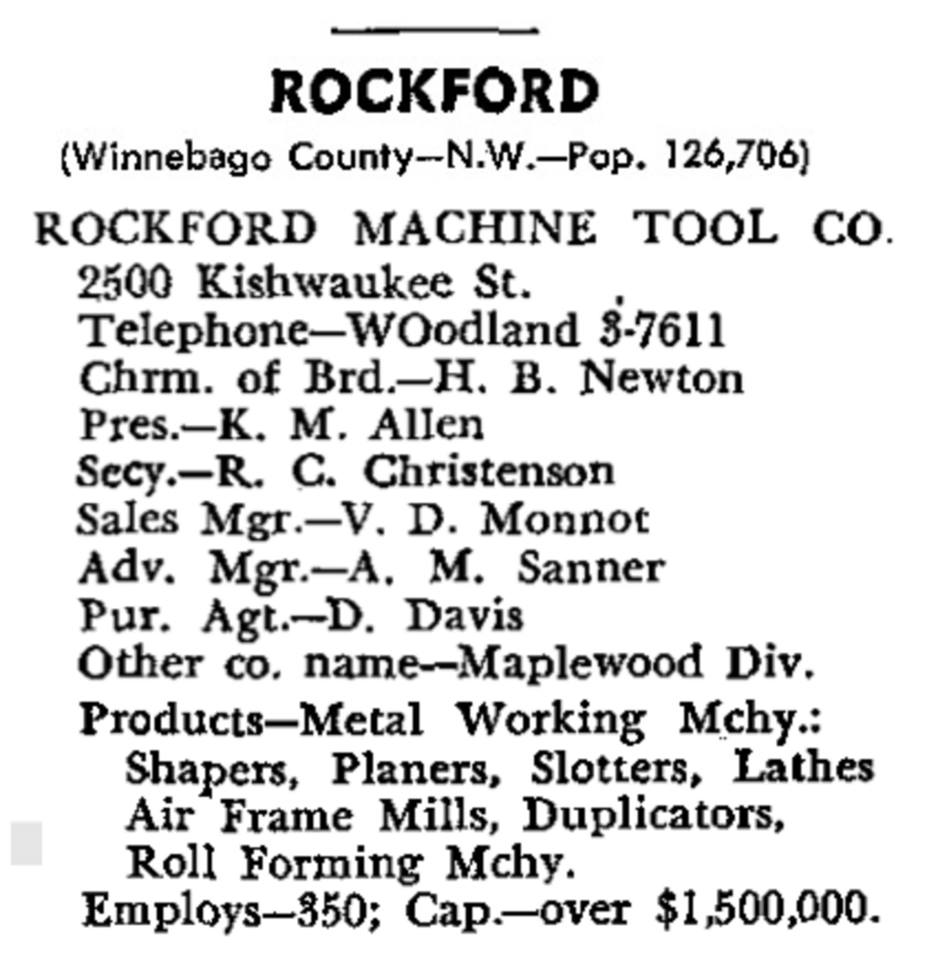 Industrial History: Rockford, IL, Machine Tool and