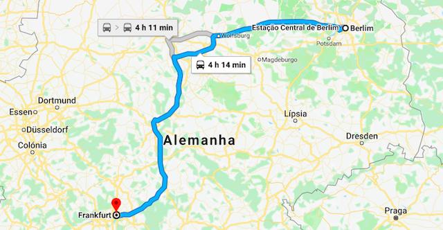 Mapa da viagem de trem de Berlim a Frankfurt