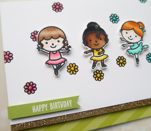 Sunny Studio Stamps: Tiny Dancer Girl Themed Birthday Card by Laura Sterckx