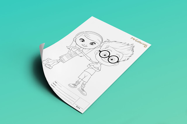 Free Printable Mr. Peabody & Sherman Coloriage Outline Blank Coloring Page pdf For Kids Kindergarten Preschool toddler coloring sheets 3