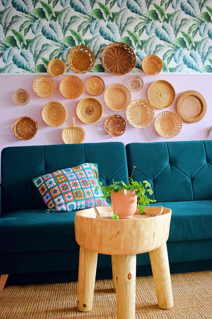DIY - Dekoracja ściany z koszyków