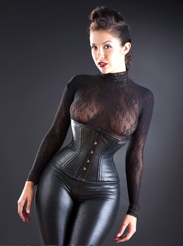 Big tits black leather