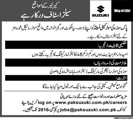 Sales & Marketing Staff Jobs in Pak Suzuki Ltd. Jobs