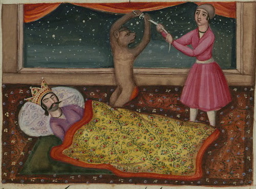 Illustration of a sleeping king, a monkey holding a sword aloft, and another man restraining the sword, from Lights of Canopus, Iran 1847