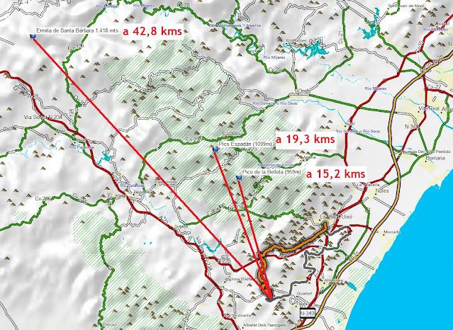 distancias desde codoval a pico bellota, espadán y monte santa bárbara