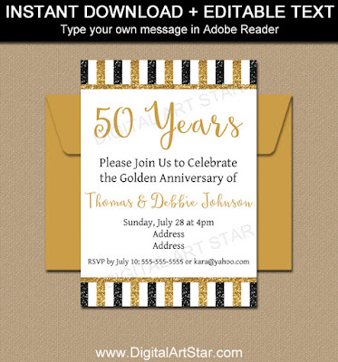 50th wedding anniversary invitation download with black gold glitter