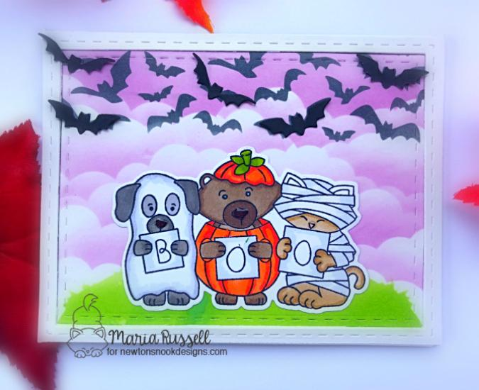 Halloween Card by Maria Russell | Halloween Trio Stamp Set and Die Set and Flying Bats Stencil by Newton's Nook Designs #newtonsnook #handmade