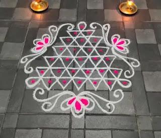 simple colours diwali dot rangoli