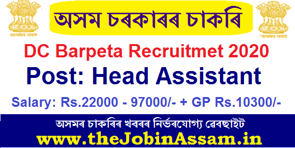 DC, Barpeta Recruitment 2020: Apply for Head Assistant Post