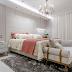 Quarto com decor contemporâneo clássico com jogo de cama floral e frigobar!