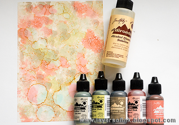 Layers of ink - Field of flowers tutorial by Anna-Karin, with Wildflowers stamps by Tim Holtz and Yupo paper.