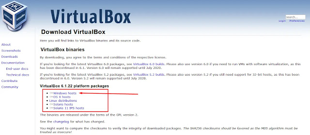 Halaman Download Virtualbox