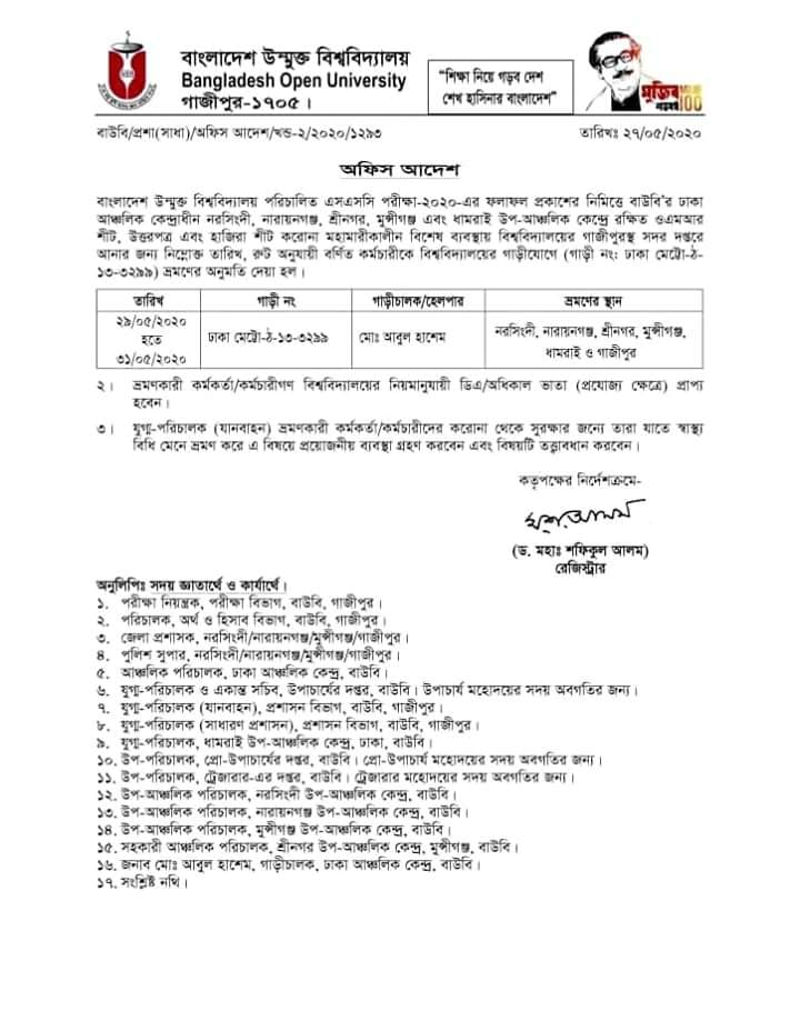 BOU SSC Exam Result 2020 Notice